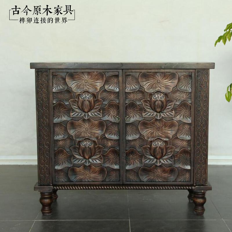东南亚风格家具实木雕花柜玄关柜古今原木家具TV148-30中式玄关柜