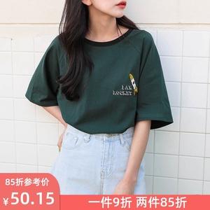 半袖学生纯棉宽松韩版短袖t恤女百搭2020年夏季新款中袖上衣ins潮
