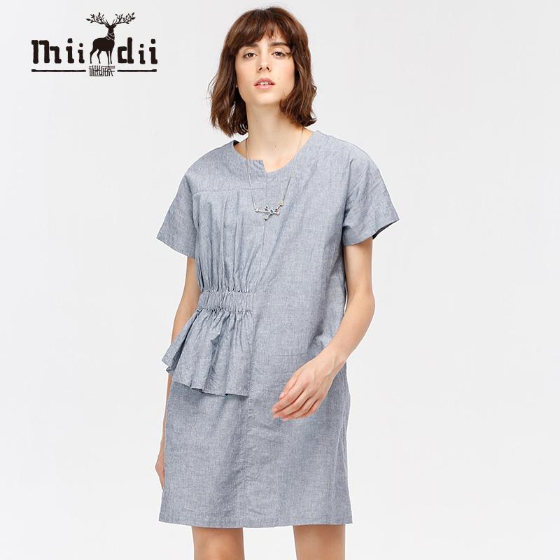 谜底女装秋季X型收腰棉麻连衣裙173ML1584