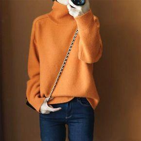 【鄂尔多斯市清仓】2019新款橘色高领毛衣女冬加厚宽松针织打底衫