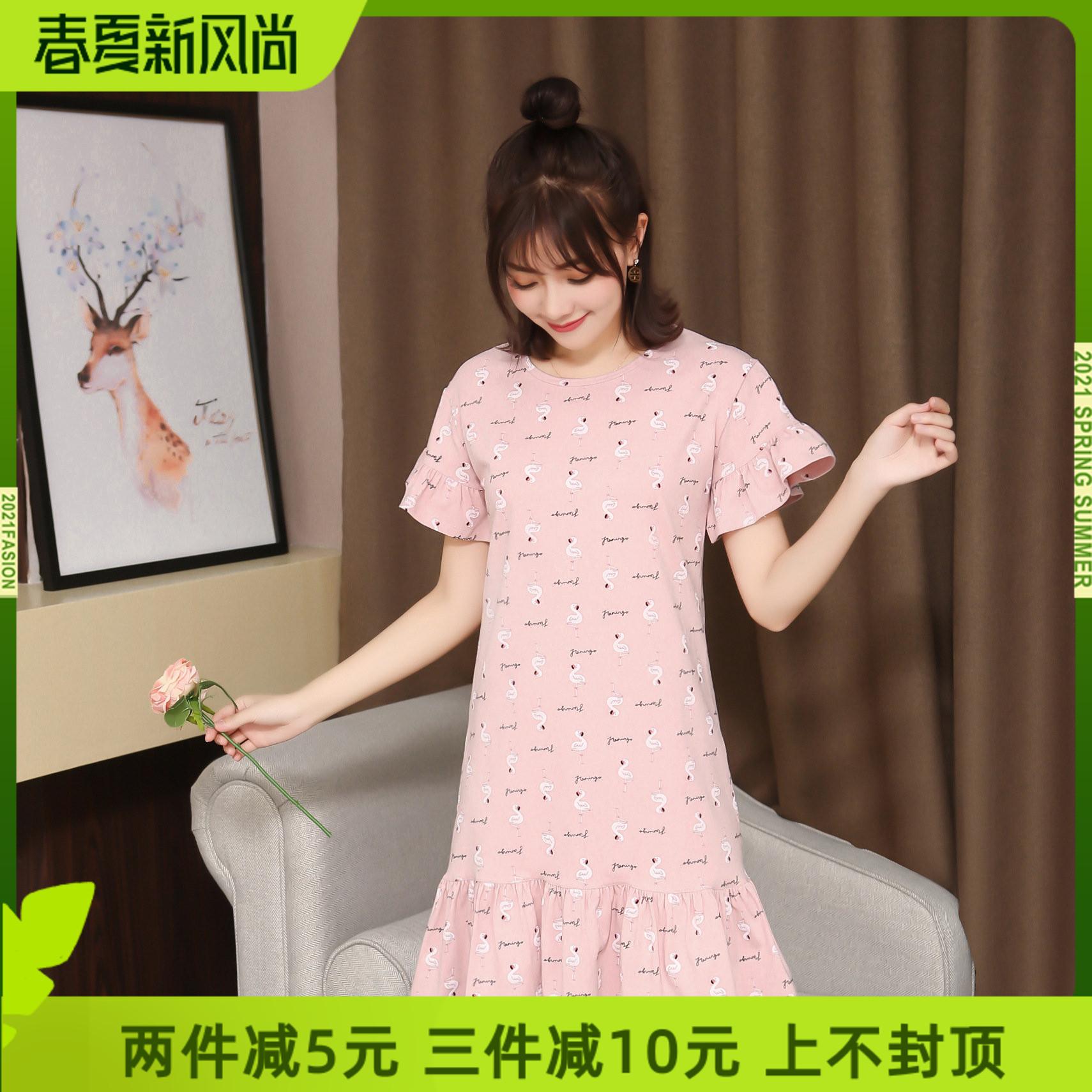 女性の夏の新型の純綿のパジャマの寝間着の韓国版のかわいい泡のスカートの日系の心地良いワンピースのホームはスカートに外出することができます