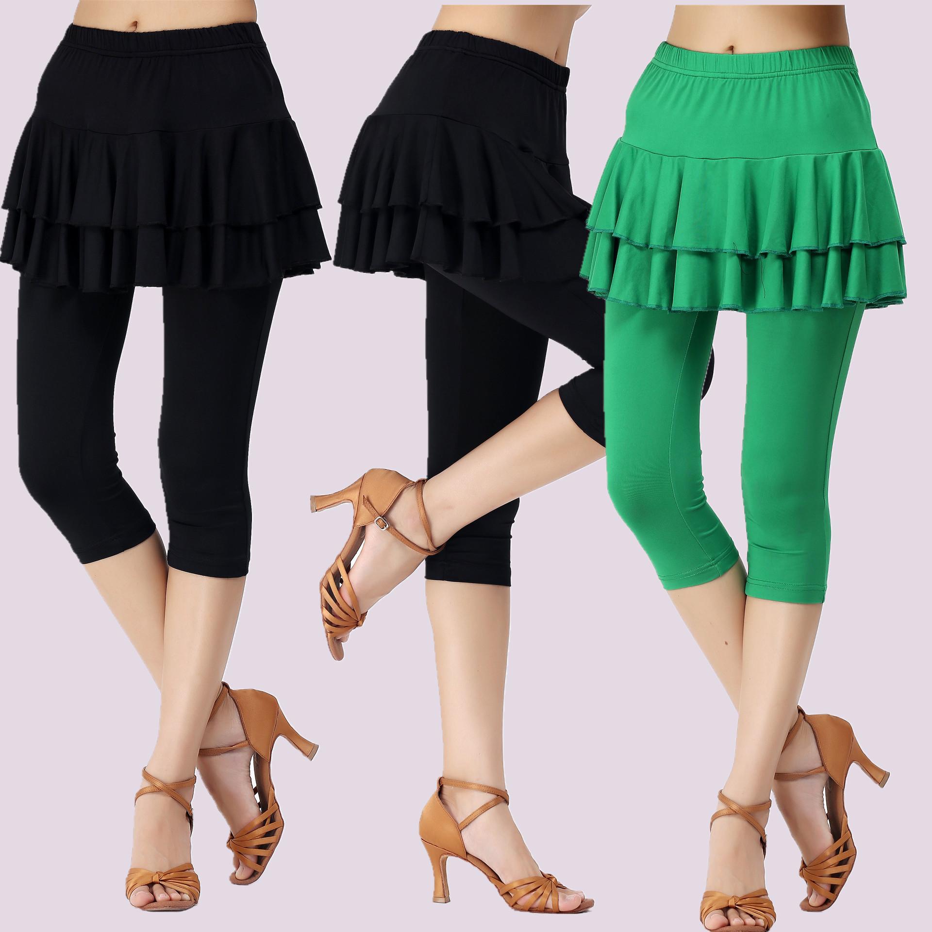 新款广场舞裙裤舞蹈裤 黑色 绿色 红色中裤七分裤裙 表演裤包邮