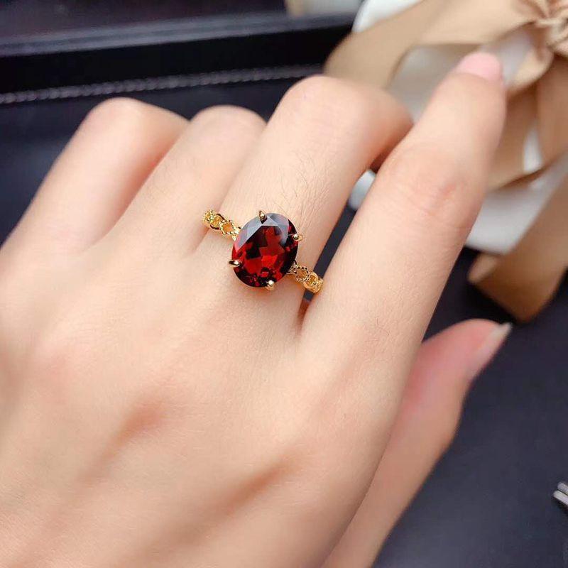 New natural wine GARNET RING 925 Sterling Silver Fashion pigeon blood ruby send mother to girlfriend special