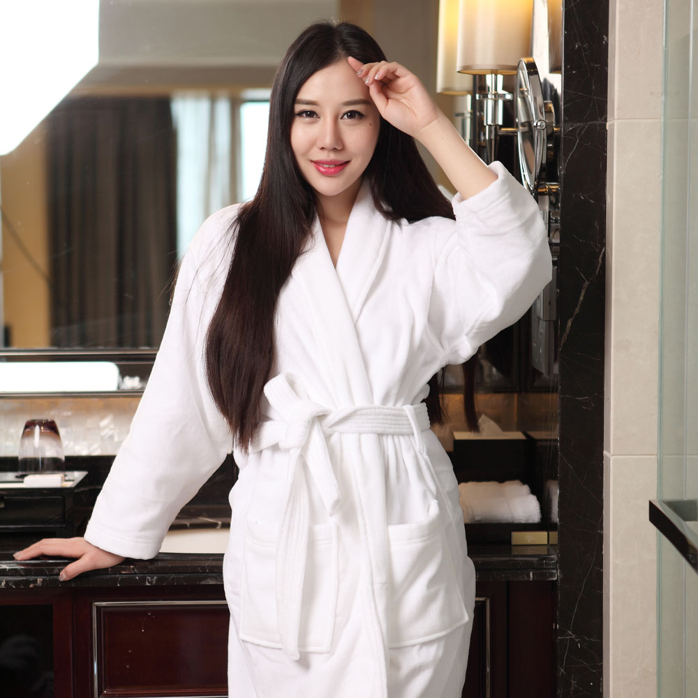 Hotel bathrobe male and female pure cotton towel material cotton kimono bathrobe thickened long white nightgown in spring and autumn Japanese style