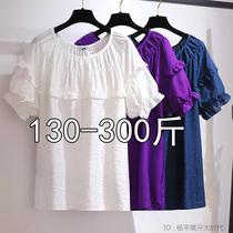 300斤特超大码女装230胖mm娃娃衫上衣宽松荷叶边短袖夏季新款衬衫