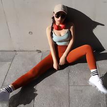 欧美ins网红运动裤女 提臀彩色针织弹力七分裤 高腰瑜伽健身裤