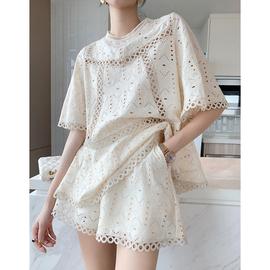 小香风套装女夏季镂空绣花2020新款韩国上衣+短裤宽松韩版两件套