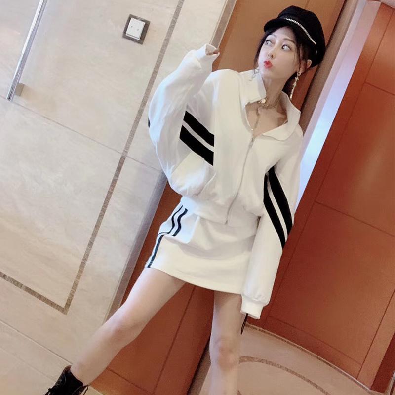 套装女韩国2019早秋新款运动风潮范条纹撞色拼接卫衣上衣+半身裙