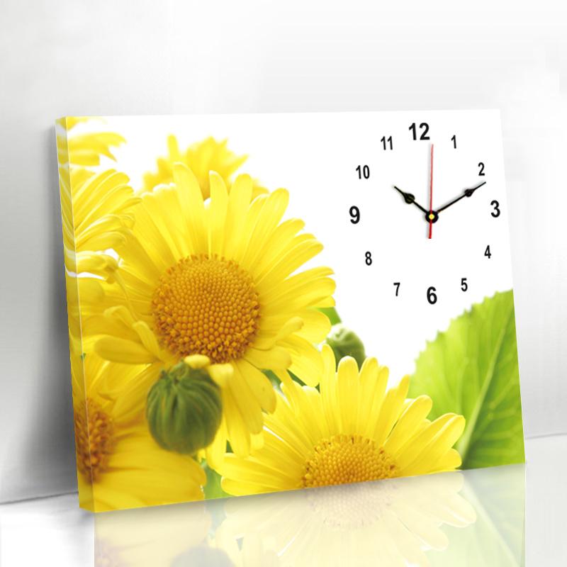 现代简约客厅装饰画无框画挂钟表向日葵墙画餐厅创意遮挡装饰壁画12月01日最新优惠
