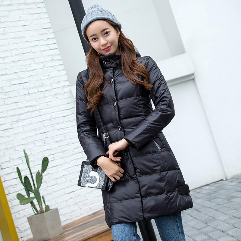 梦娜世家2017女士新品中长款韩版修身时尚保暖简约羽绒服18160