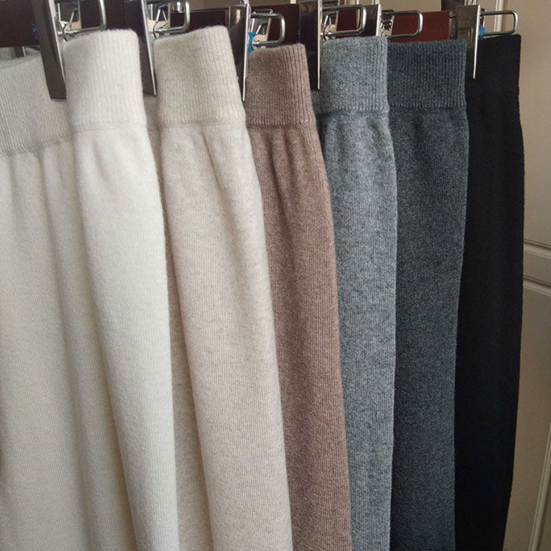 Wide leg pants cashmere wool knitting thickened large size fat m nine point high waist down feeling wool pants casual pants made to order