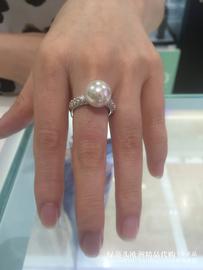 欧洲轻奢百年品牌MAJORICA简约气质镶钻透明12毫米珍珠戒指女