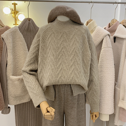 洛洛拉半高领麻花毛衣女冬季加厚2020新款慵懒宽松羊毛针织衫外穿