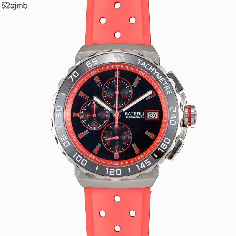 实拍VK石英计时运动男士手表 精钢表壳红色橡胶表带男孩手表A193