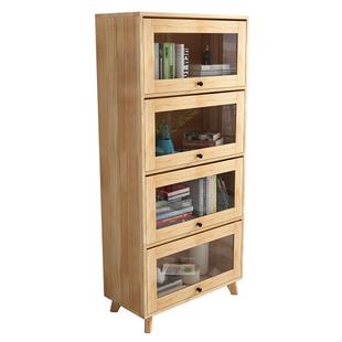 北歐輕奢書櫃美式組合書櫃帶玻璃門全實木儲物展示櫃簡約原木書架