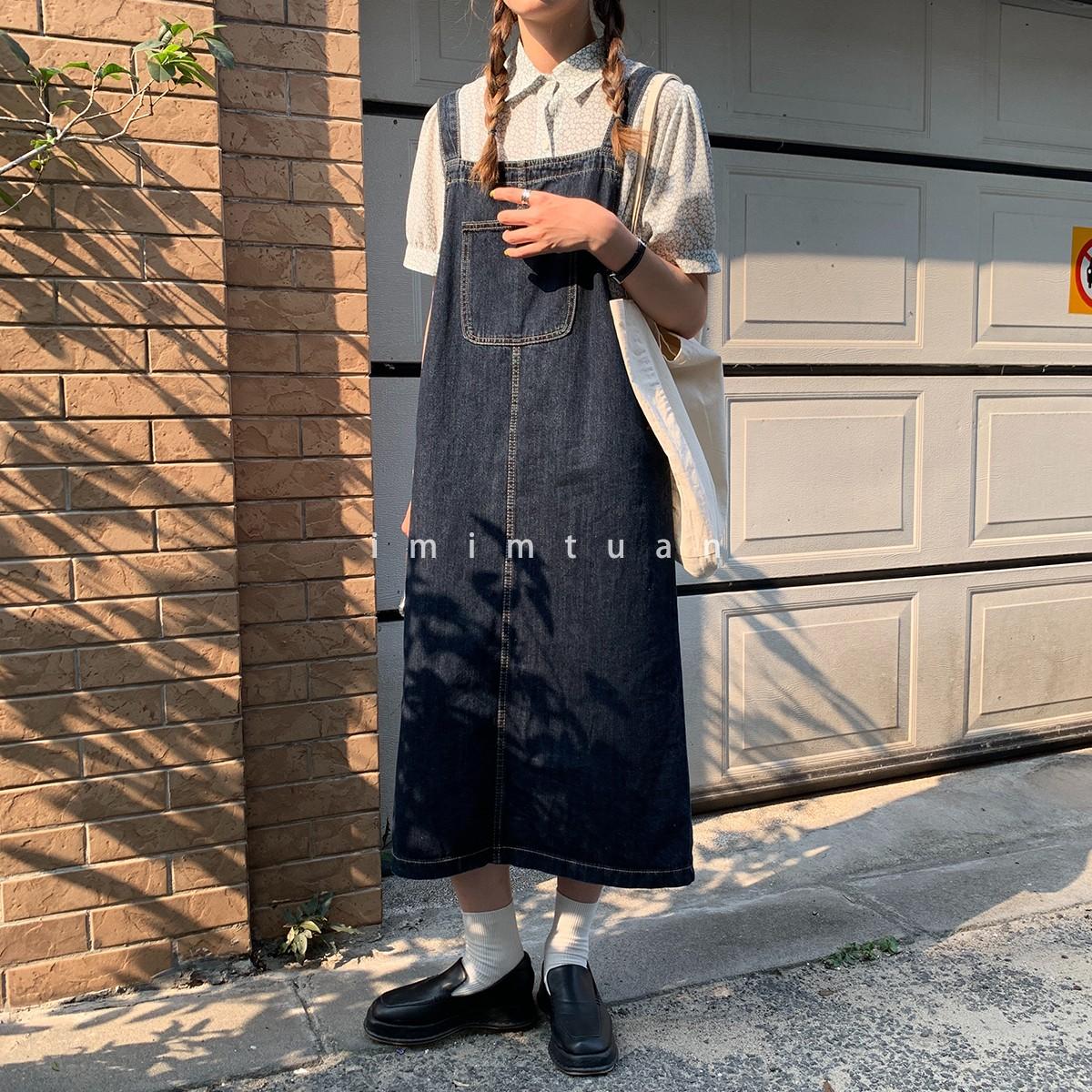 陆小团团 韩版夏季山本风显瘦牛仔背带裙女夏长款过膝学生连衣裙图片