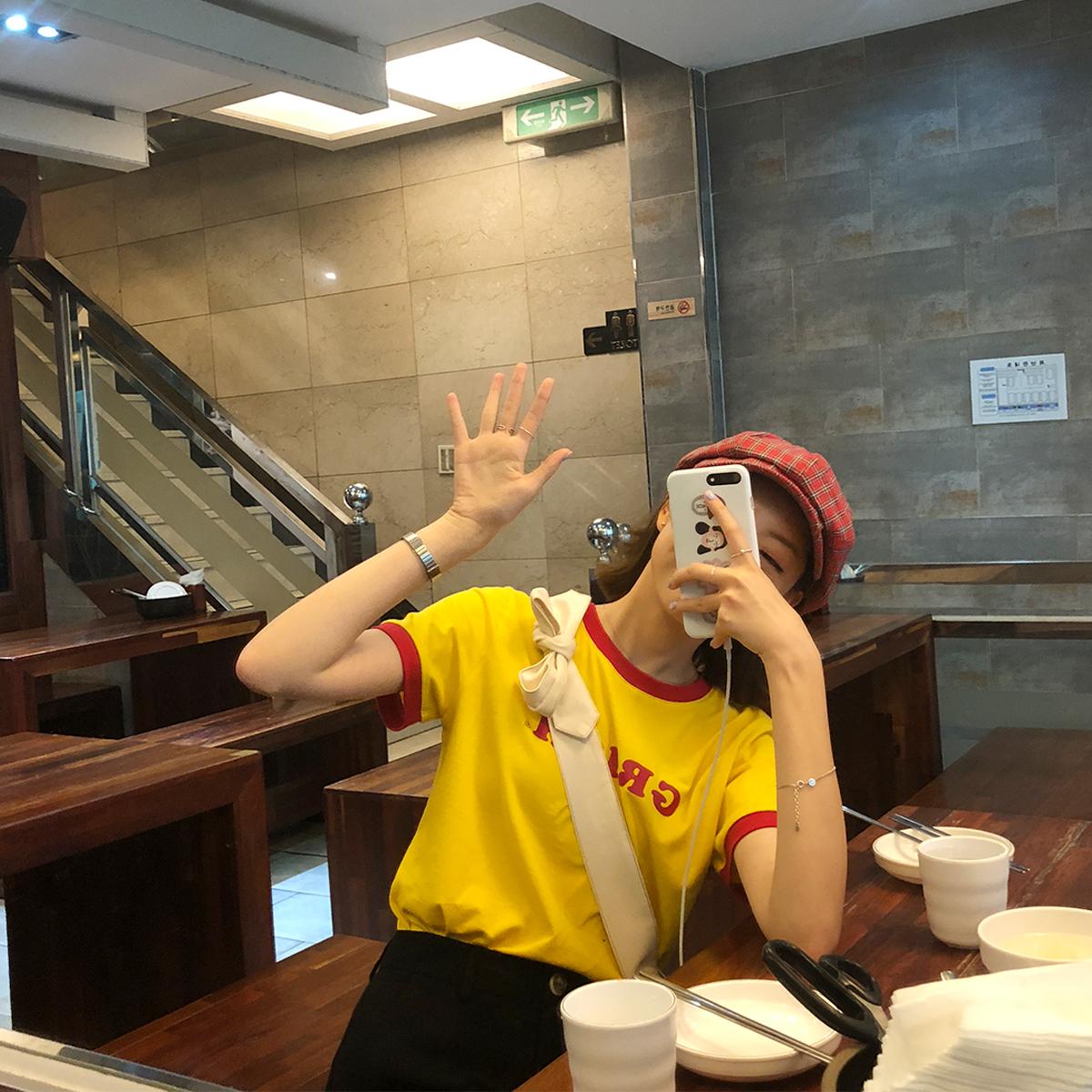 陆小团团 T恤衫短袖女夏2018韩国新款拼色英文字母上衣宽松女装夏