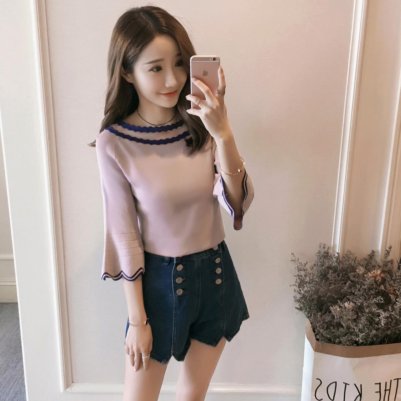 1 круглый вырез свитер женщина лето 2017 новый корейский смешанные цвета рукав обтягивающий стройнящий дикий поддержка куртка волна