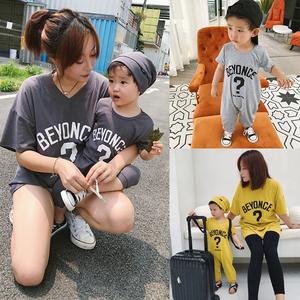 米粒家婴童装亲子装母子装宝宝纯棉爬服婴儿哈衣儿童连身衣连体服