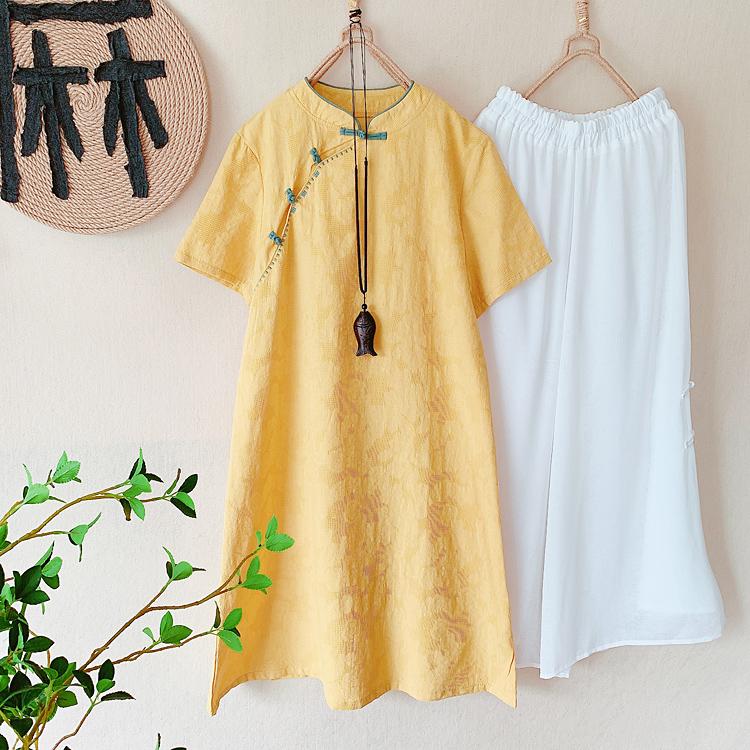 中国风复古旗袍棉麻连衣裙阔腿裤