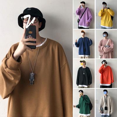 F01 P40 控55 20/春 韩版ins假两件纯色棉卫衣男宽松情侣基础外套