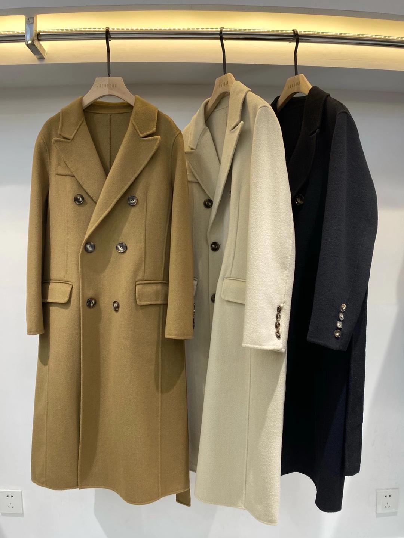 韩国双排扣腰带黑色杏色长款2021年秋冬档次双面羊绒羊毛大衣外套