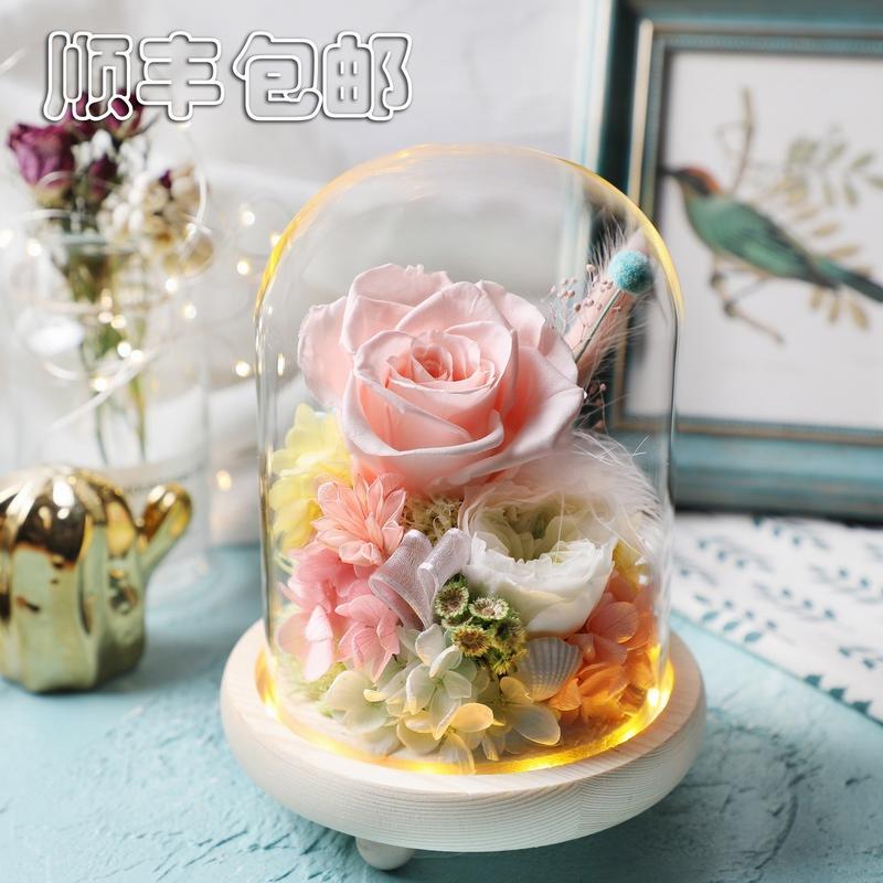 教师节顺丰包邮进口永生花玻璃罩玫瑰康乃馨礼盒厦门鲜花店订送花