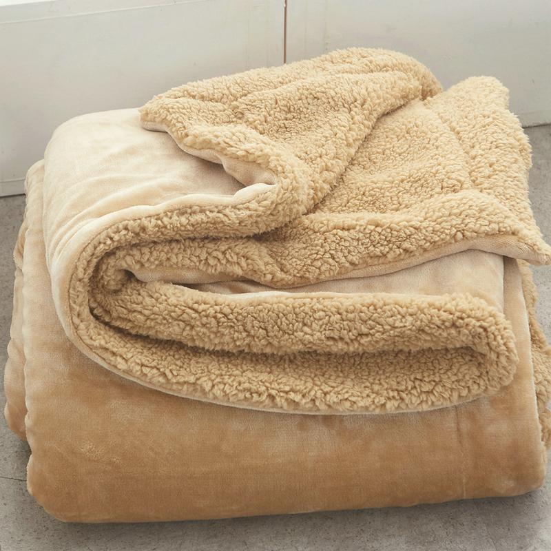 小毛毯被子羊羔绒双层加厚保暖办公室单人午睡盖毯冬季珊瑚绒毯子