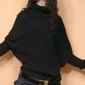 春秋韩版宽松显瘦女不规则毛衣针织衫蝙蝠衫堆堆领线衣打底衫外套