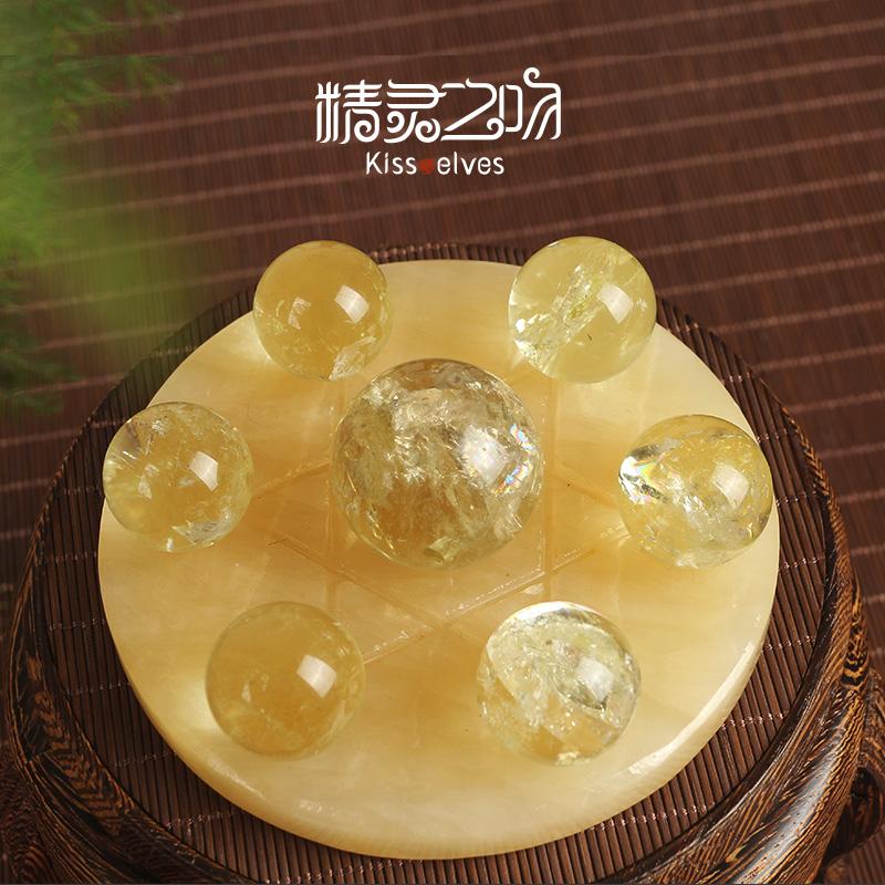 Natural crystal ball and yellow crystal ball Seven Star array ornament