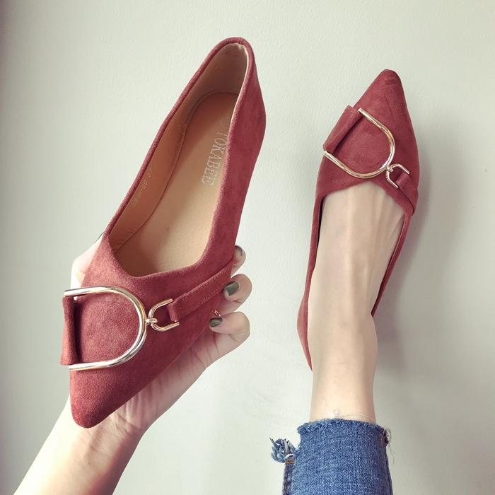欧美风时尚2020春秋季新款女鞋子大码绒面浅口尖头平跟平底女单鞋