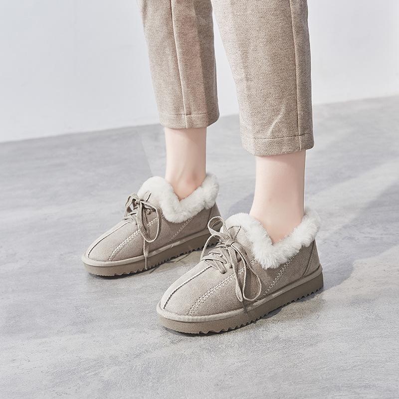 2019冬季新款韩版短筒雪地靴女厚底加厚保暖休闲皮毛一体低帮棉鞋