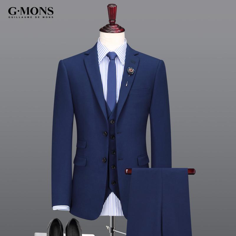 西服套装男士西装三件套新郎结婚礼服商务韩版修身职业正装蓝冬季