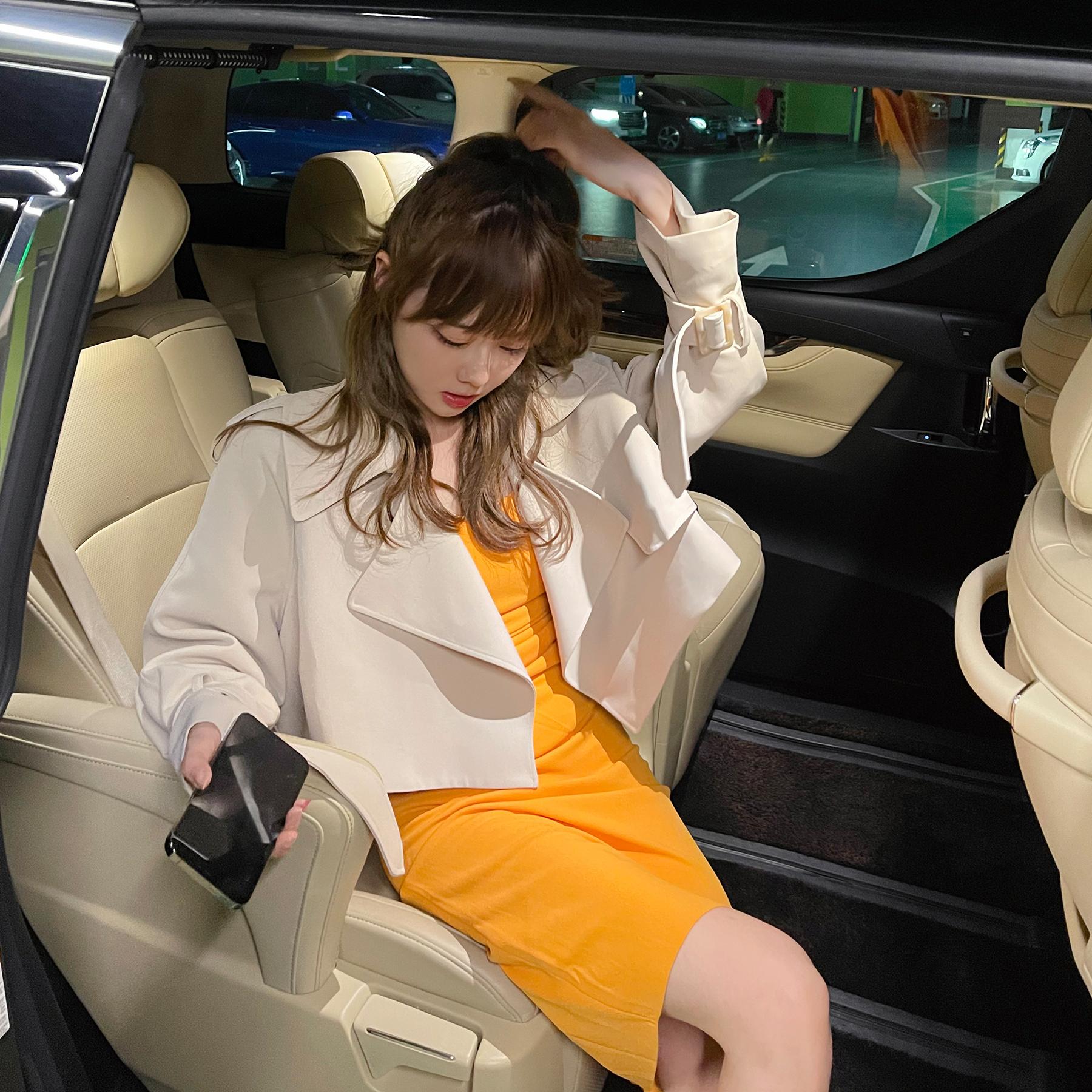 LIN 短款上衣2021年英伦风修身显瘦卡其色风衣外套女春秋小个子