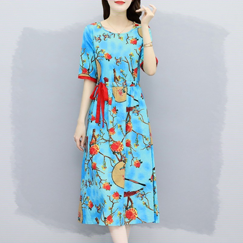 Summer womens comfortable cotton red and blue contrast color bright big flower over knee unilateral lace up loose casual dress