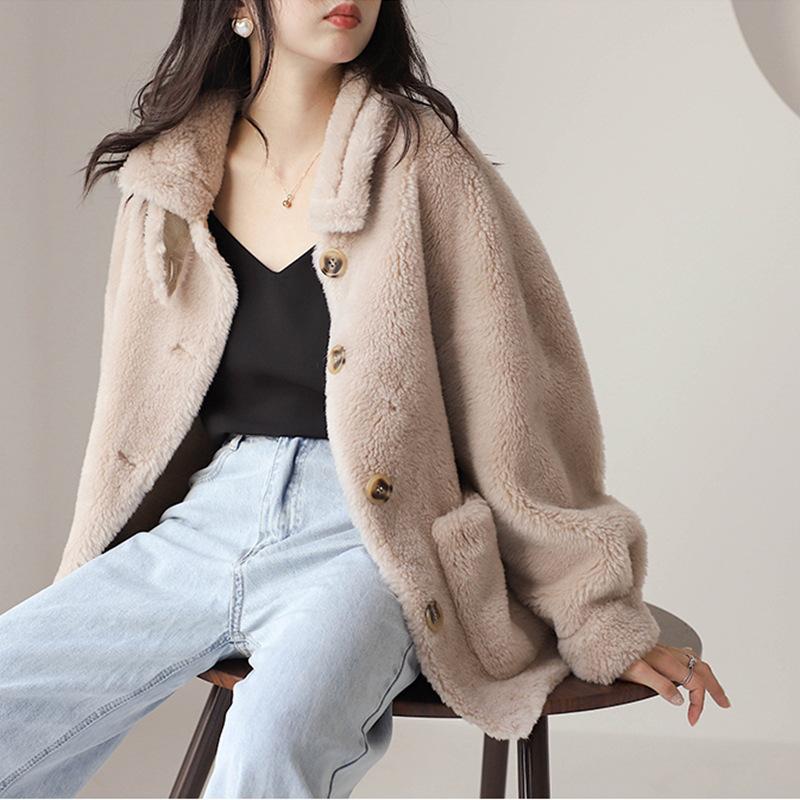 Sheep shearing coat womens wholesale short 2021 new fur one small lamb fur grass coat loose