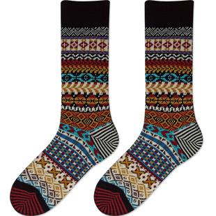 彩色民族風咔嘰襪高端秋冬季保暖加厚長襪中筒毛線靴襪復古襪子男