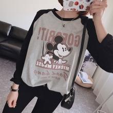 T恤女款 打底衫 卡通人物字母纯棉宽松插肩袖 韩国订单减龄款 长袖