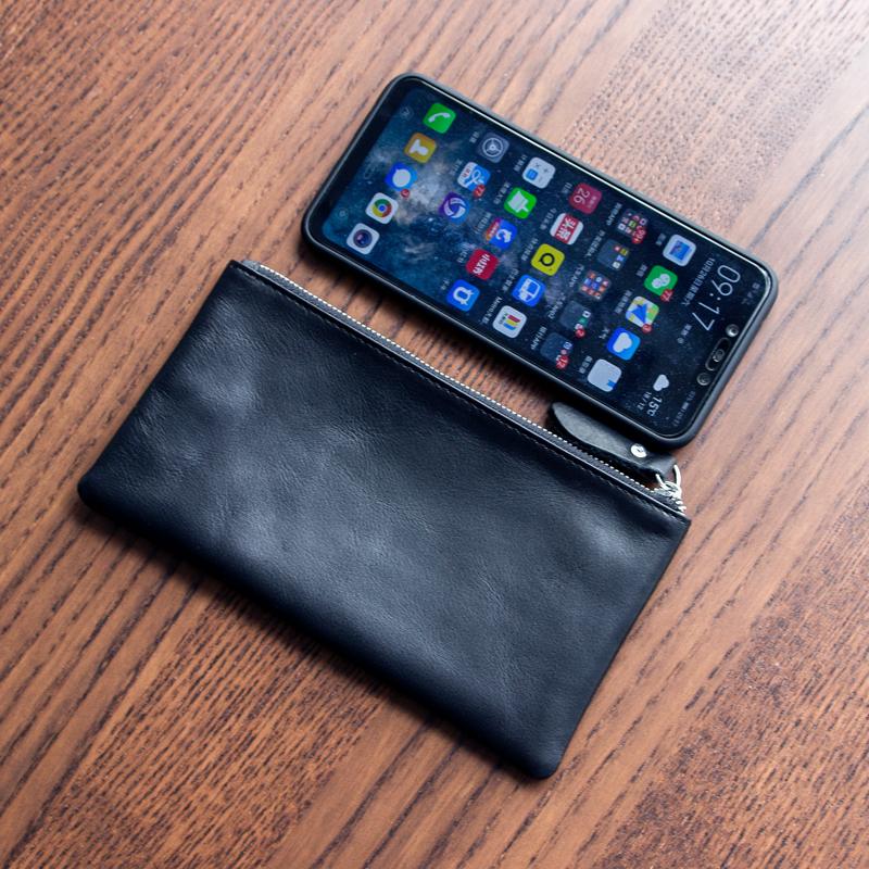 Original mens leather womens long zipper wallet soft simple ultra thin small wallet hand bag mobile phone bag zero wallet
