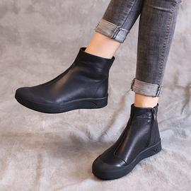 2020新款春秋季真皮马丁靴牛皮女靴软底白色单靴女士小短靴子棉靴