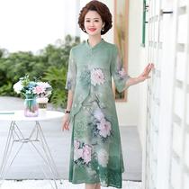 四五十岁左右胖妈气质女装中老年轻好妈妈女人夏天40到50连衣裙子
