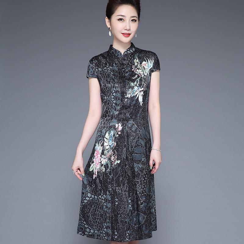 母亲节礼物送老妈给婆婆买的40几50多岁60连衣裙2020夏天短袖群子