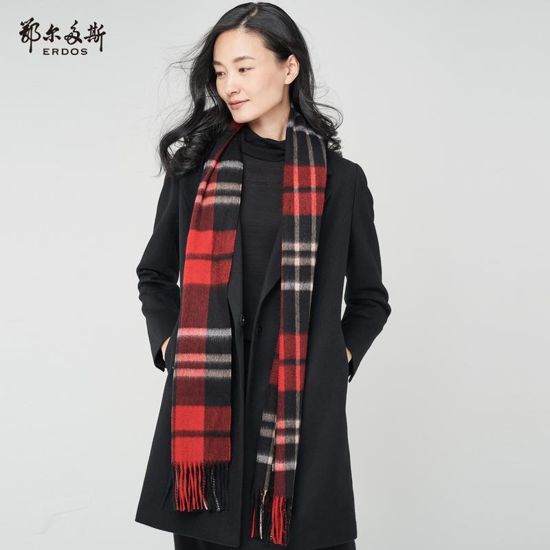 鄂尔多斯 18秋冬新品羊绒单层水纹格围巾180X30