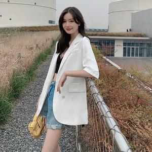 半袖西装外套女夏薄款2021新款韩版白色简约英伦风防晒短袖小西服