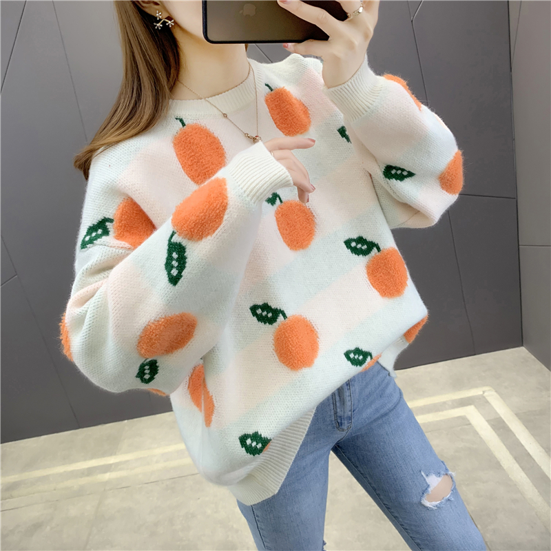 Autumn and winter 2020 new fruit pattern loose sweater female lazy wind sweater female Korean student knitted bottom shirt