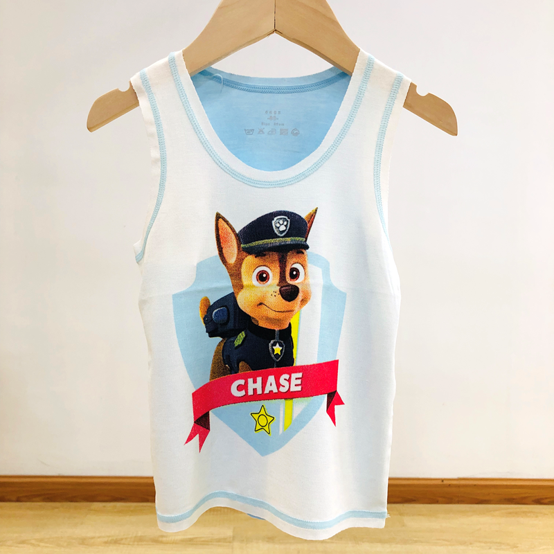 Boys and girls blue cartoon sleeveless vest Wang Wang team Archie cute dog pattern home wear cotton top