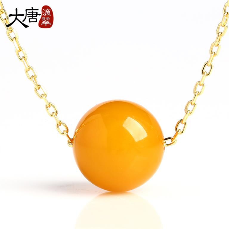 New wax pendant womens S925 silver inlaid New Pearl Amber Necklace Pendant