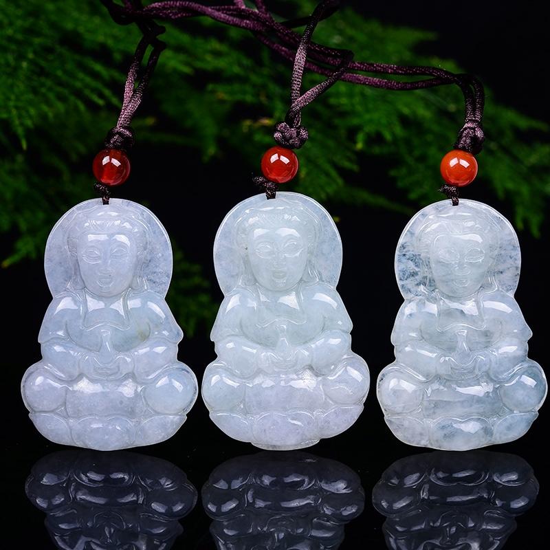 Подвеска-кулон мужской стиль Мьянма Guanyin ледяной клейкий тип нефрита нефрит ожерелье национальная идентификация другое
