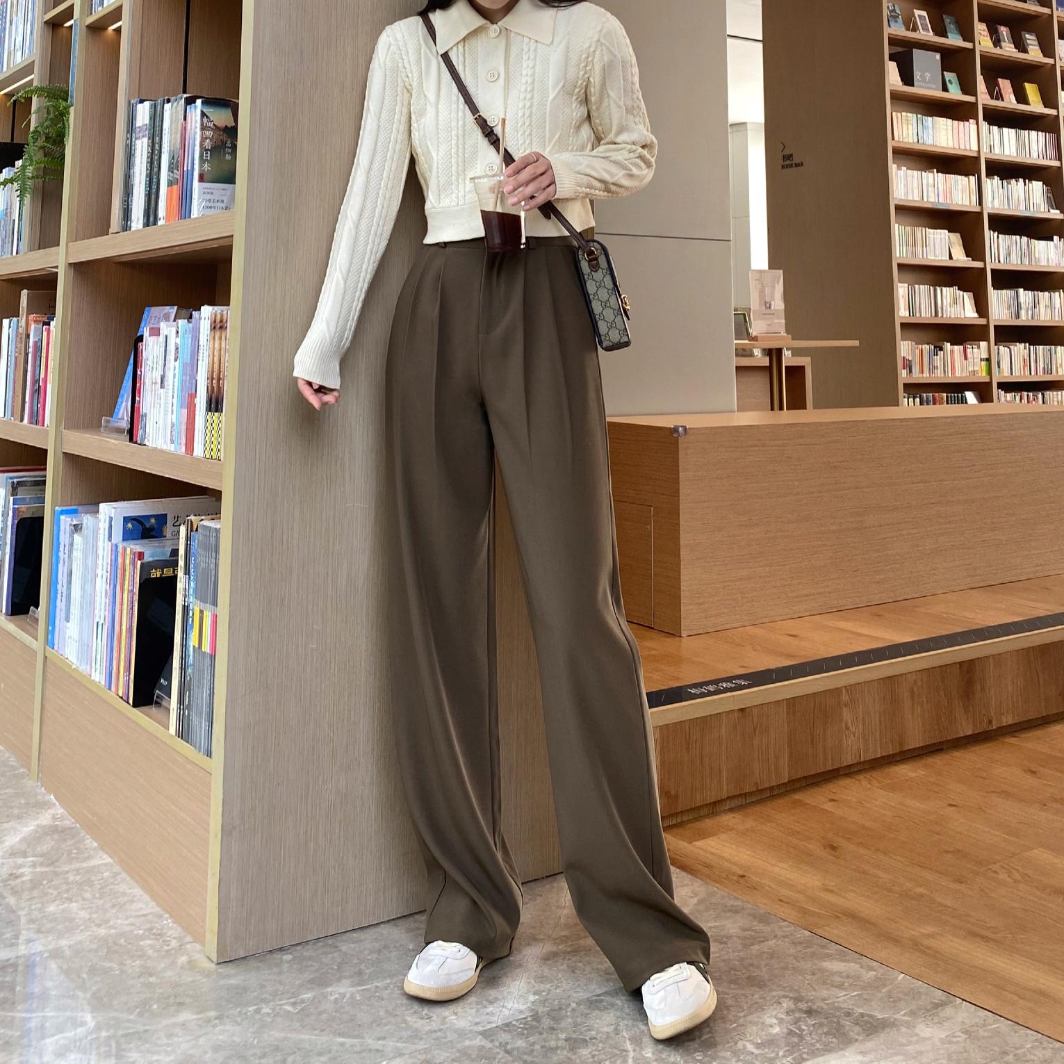 棕咖色阔腿裤女秋冬新款高腰显瘦西装裤子宽松垂感拖地加长直筒裤
