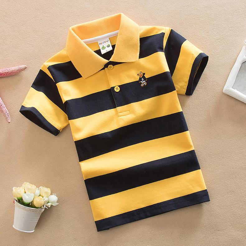 2021新款儿童短袖t恤男童条纹POLO衫90-165cm童装中童大童春夏装